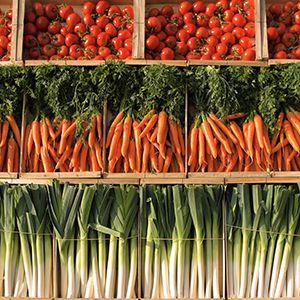 Carrots, leeks, tomatoes