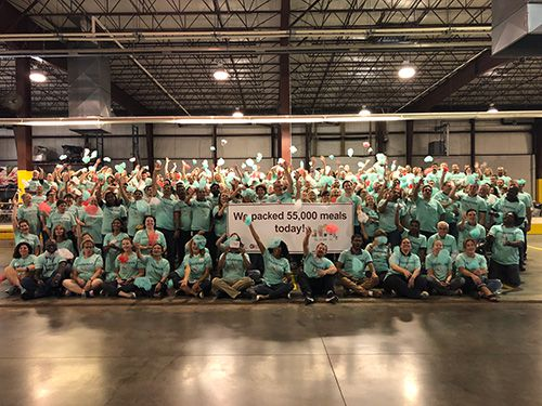 C&S employee packed 55,000 meals in less than one hour to support the New Hampshire Food Bank and Vermont Food Bank.