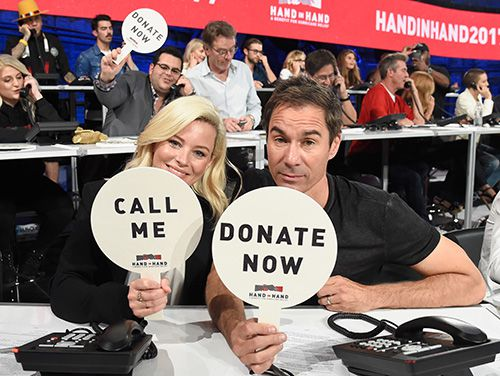 Elizabeth Banks and Eric McCormack at Hand in Hand hurricane relief benefit