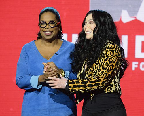 Oprah and Cher at Hand-In-Hand hurricane relief benfeit