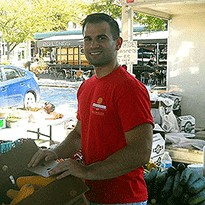 Ian, a volunteer with Harvesters - The Community Food Bank in Kansas City, MO