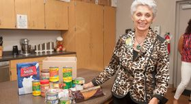 Bea Hanson, food bank CEO with a diabetes management box.