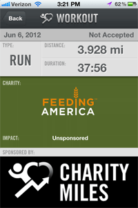 My 4 mile run translated to 9 meals for people in need