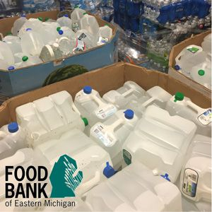 Water donations at Food Bank of Eastern Michigan in Flint.