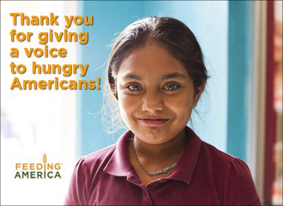 Thank you for giving a voice to hungry Americans!