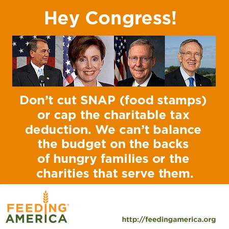 Hey Congress! Don't cut SNAP or the charitable tax deduction