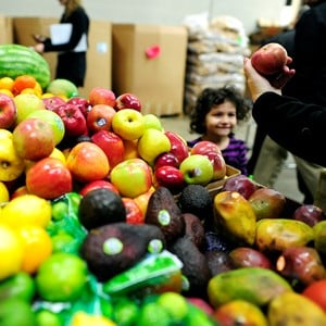 Produce at a food bank
