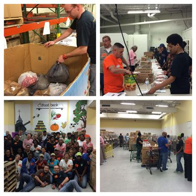 Panera Bread employees volunteer at a food bank