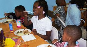 Children at a meal program