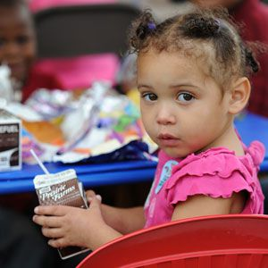 A child at a summer feeding program.