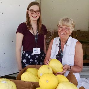 Volunteers at a mobile food pantry.