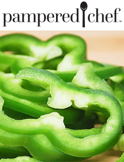 Pampered Chef Logo and Green Peppers