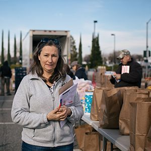 Nancy, a food bank employee managing the emergency food distribution near Paradise.