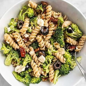 Pasta salad with broccoli and olives created by Beth Moncel of Budget Bytes