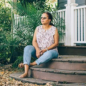 Terri on her porch in Florida