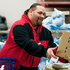 Zakkeeas, a federal worker, visiting a food bank during the government shutdown