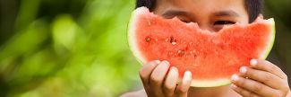 Boy holding watermelon slice