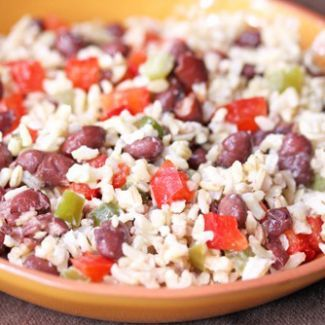 Rice and beans on a plate.