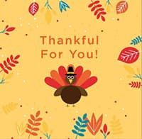 """""""Thankful for you"""" card with turkey wearing hat"""