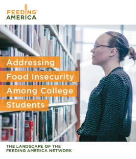 Photo of college student in library, superimposed with Addressing Food Insecurity Among College Students