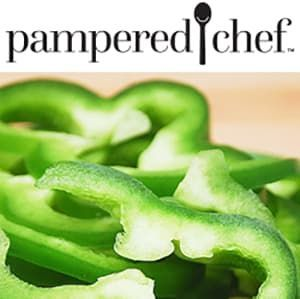 Green bell peppers with text reading Pampered Chef