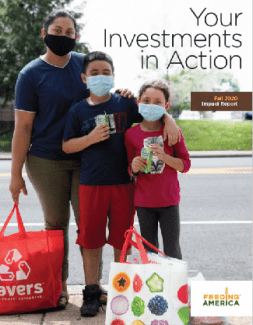 Parent and two children wearing face masks at food bank next to text reading Your Investments in Action