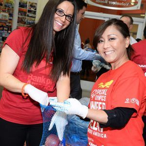 Bank of America employees volunteering at their local food bank.