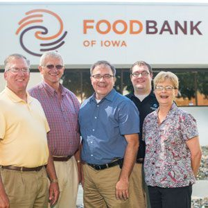 Land O' Lakes and Food Bank of Iowa staff outside the food bank.