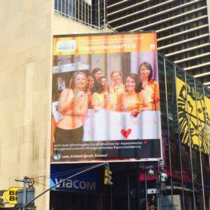 Hunger Action Month Billboard in Times Square