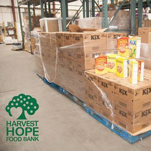 Donated cereal at Harvest Hope