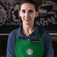 Kirsten in Starbucks apron